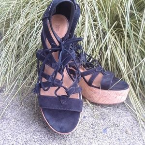Frye strappy suede cork wedge sandals